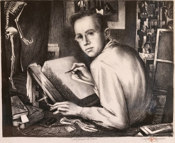 Benton Spruance - Self Portrait at Stone - 1942 - Lithograph - Fine & Looney 204 - David Kabakoff Collection