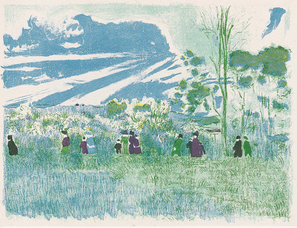 Edouard Vuillard - Paysages et Interieurs - A travers champs - through the fields - original color lithograph