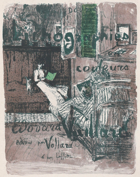 Edouard Vuillard - Paysages et Interieurs - Couverture de l'album - cover of portfolio w text - original color lithograph - medium