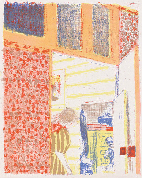 Edouard Vuillard - Paysages et Interieurs - Interieur aux tentures roses III - interior with pink wallpaper - original color lithograph - medium