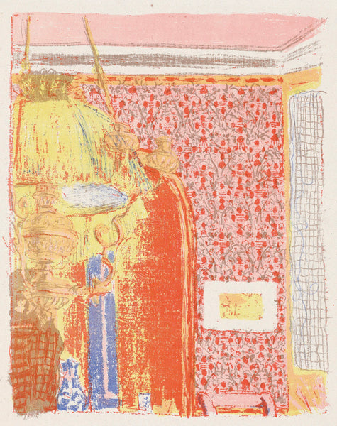 Edouard Vuillard - Paysages et Interieurs - Interieur aux tentures roses II - interior with pink wallpaper - original color lithograph