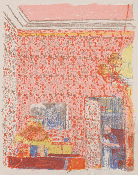 Edouard Vuillard - Paysages et Interieurs - Interieur aux tentures roses I - interior with pink wallpaper - original color lithograph