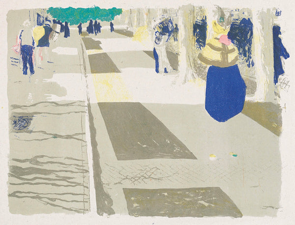 Edouard Vuillard - Paysages et Interieurs - L'Avenue - people walking on street - original color lithograph