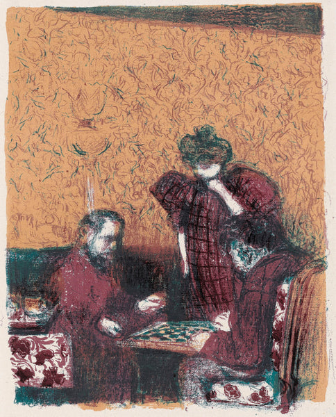 Edouard Vuillard - Paysages et Interieurs - La partie de dames - game of checkers - original color lithograph