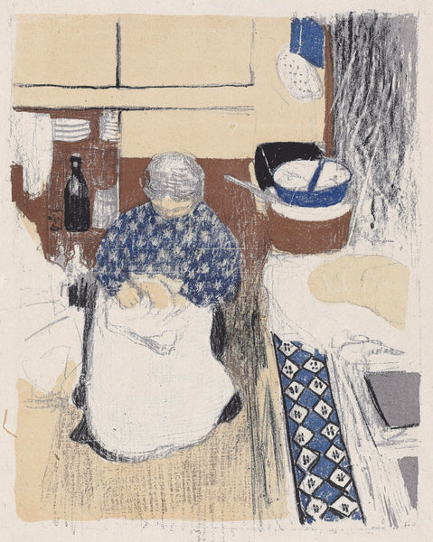 Edouard Vuillard - Paysages et Interieurs - la cuisiniere - cook in kitchen - original color lithograph