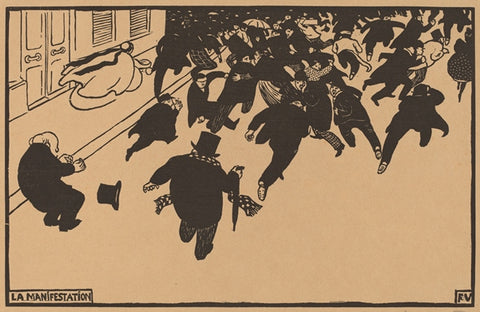 Felix Edouard Vallotton - La Manifestation - Estampe Originale - woodcut