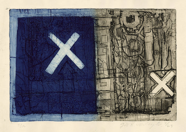 Gil Cowley - Untitled 3.65 - two toned color intaglio - blue black with Xs