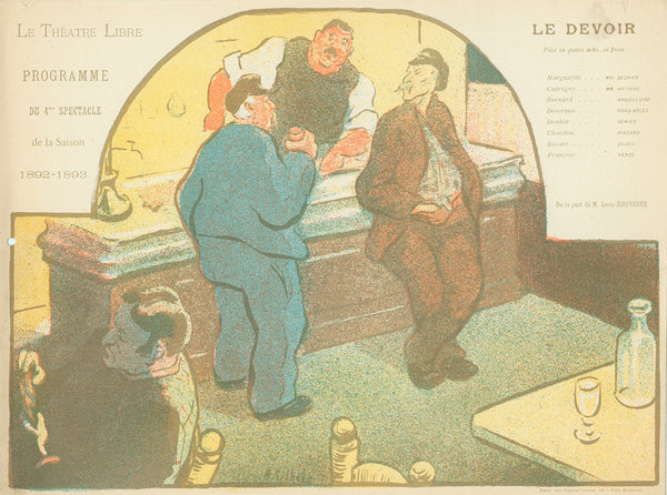Henri Gabriel Ibels - Le Devoir - men in a bar - lithograph