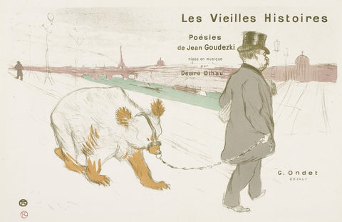 Henri de Toulouse-Laturec - Les Vielles Histoires - color lithograph - Desire Dihau - bassoon player with bear on a leash