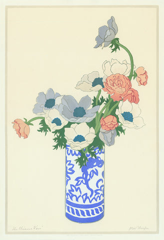 John Hall Thorpe - The Chinese Vase - color woodcut - still life - Australian British artist