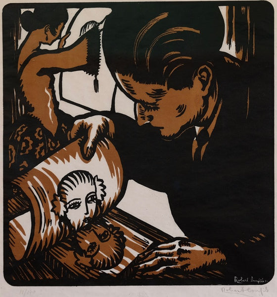 Robert Bonfils - Graveur Tirant une Planche - 1921 - color woodcut - Collection of David Kabakoff