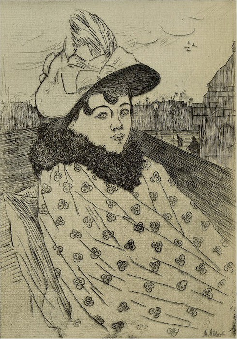 Etching - by ALBERT, Adolphe - titled: In the Carriage
