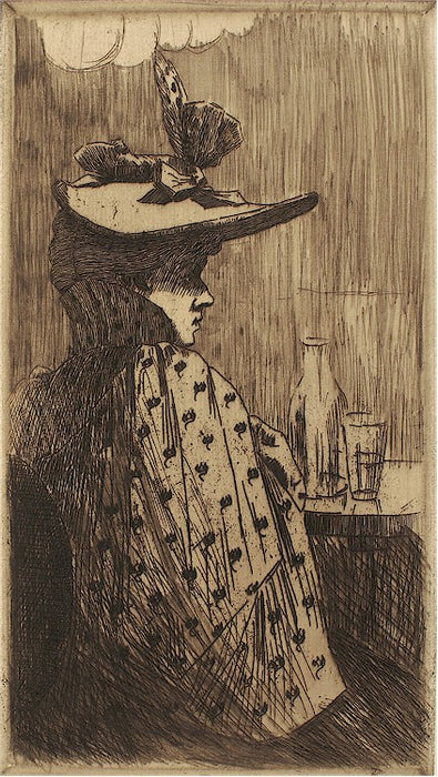 Etching - by ALBERT, Adolphe - titled: The Woman with The Hat