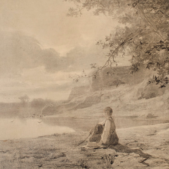 Charcoal and watercolor - by APPIAN, Adolphe - titled: Woman on the Bank of a Pond