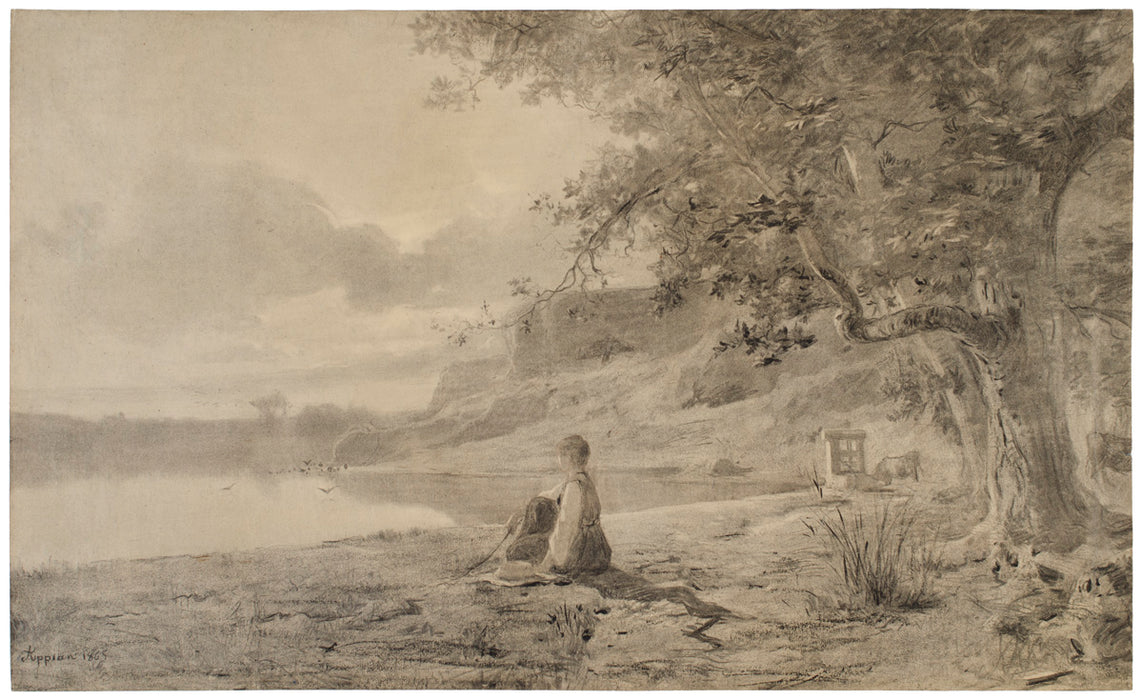 Adolphe Appian - Woman on the Bank of a Pond - main