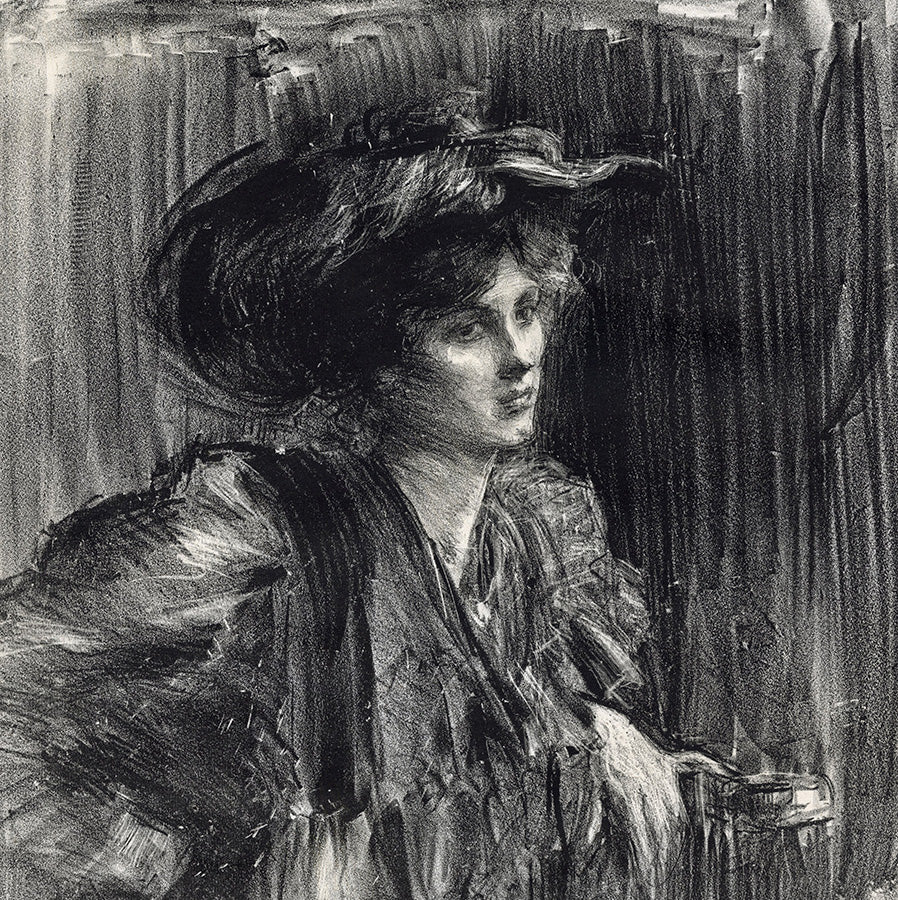 Albert Belleroche - Gildys - woman wearing a large hat  dark background - detail