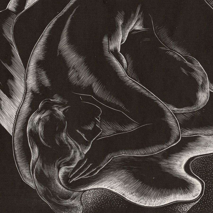 Alessandro Mastro-Valerio - In the Space - wood engraving nude - detail, 1944