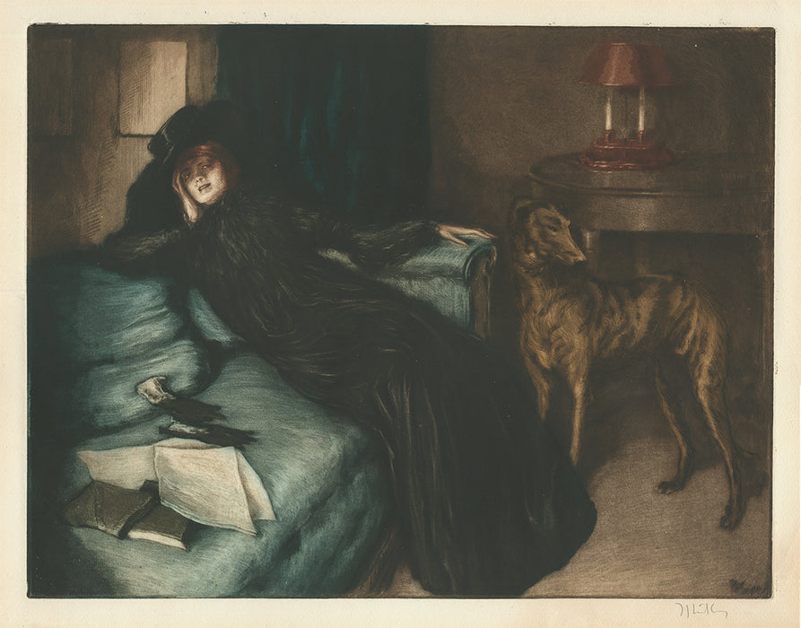 Alfredo Muller - La Nonchalante - nonchalant - book on bed - greyhound - color aquatint etching