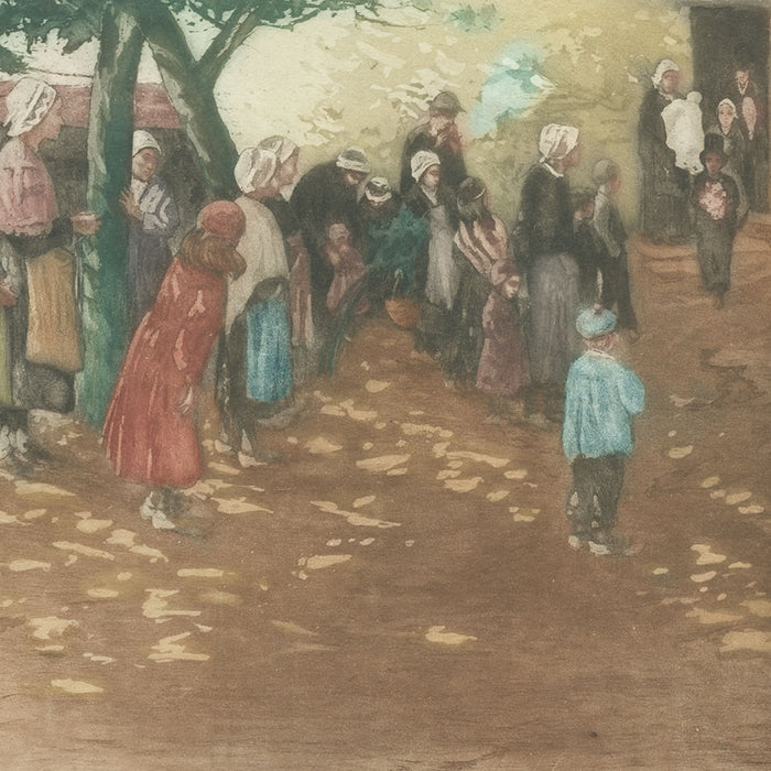 Allan Osterlind - Le Bapteme a Treboul - Baptism - Brittany Bretagne - tradition - color aquatint - detail