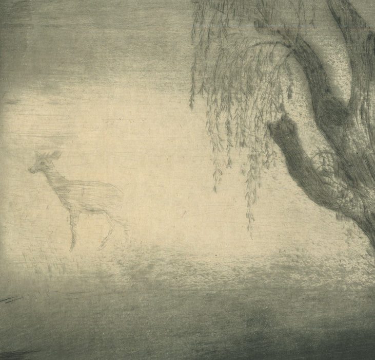 Allen Lewis - Willow and Deer in the Mist - intaglio