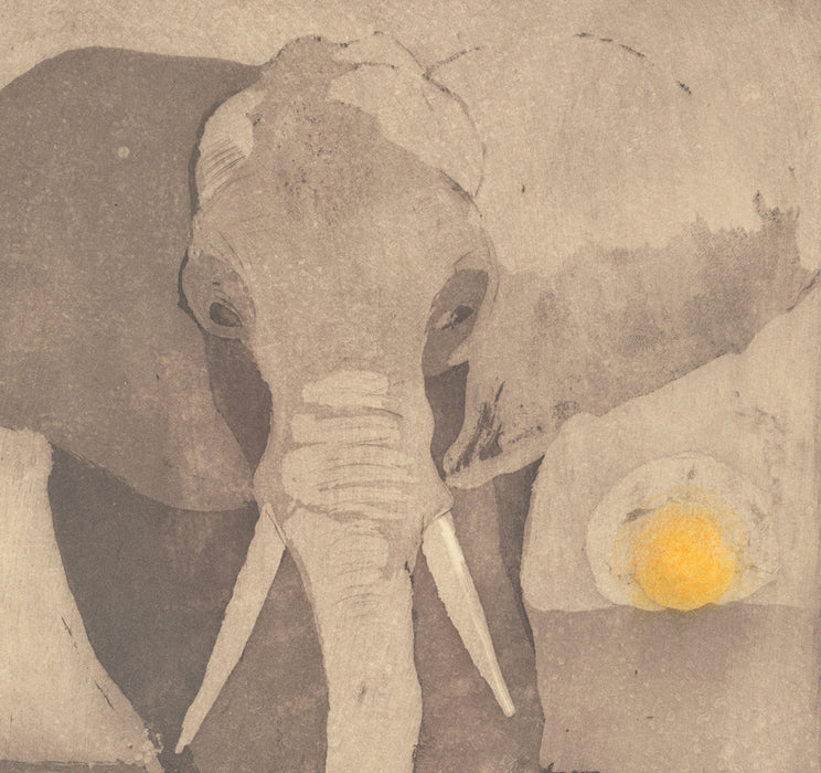 Anna Jeretic - Elephant - bird and sunset - etching