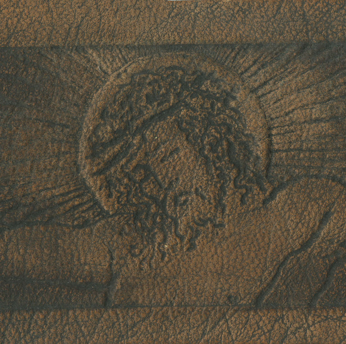 Arthur Henri Lefort des Ylouses - Christ en Croix - Belt Motif of Christ on the Cross - Crucifiction - embossed leather - gypsograph - detail