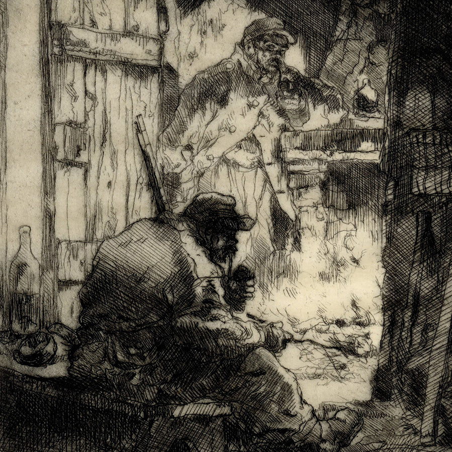 Auguste Brouet - Dans la Baraque - In the Barracks - World War One - Grande Guerre - Les Poilus - detail