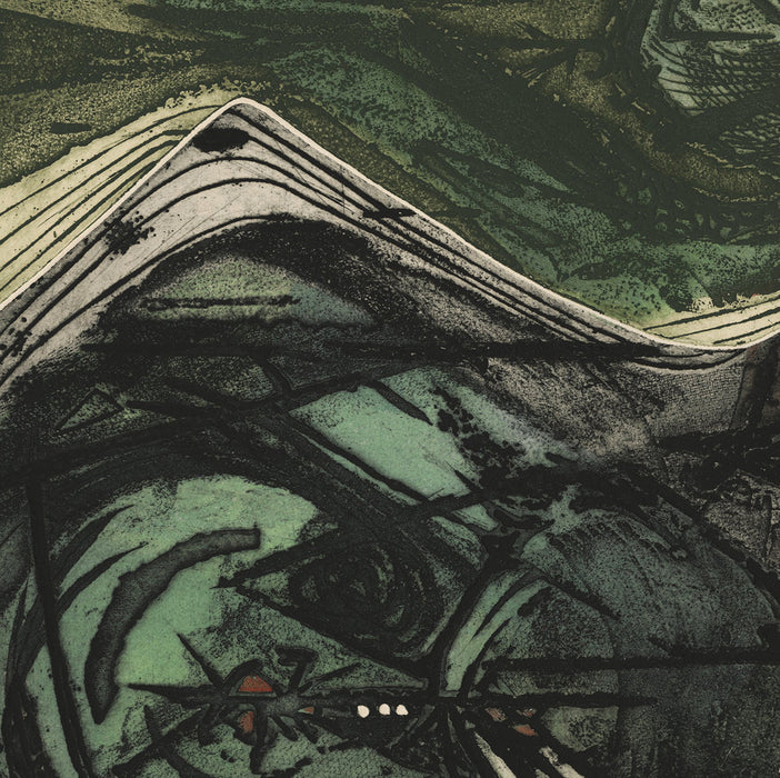 Barbara Neustadt - Odysseus Perils - Aquatint soft ground etching abstract green - detail