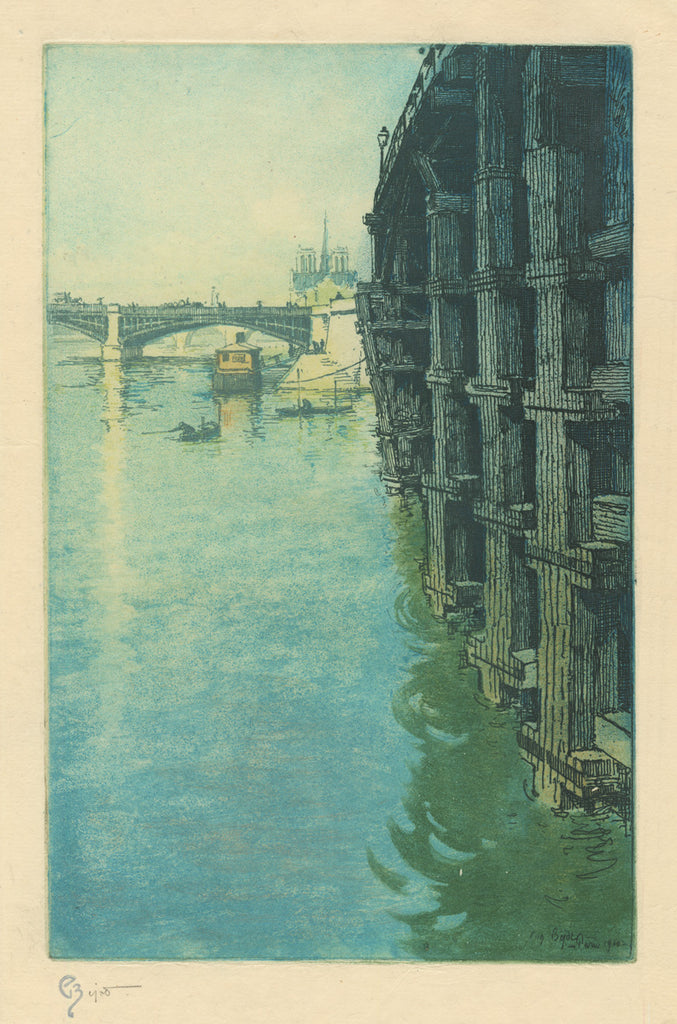 Eugene Bejot - color etching and aquatint - bridge and Notre-Dame de Paris