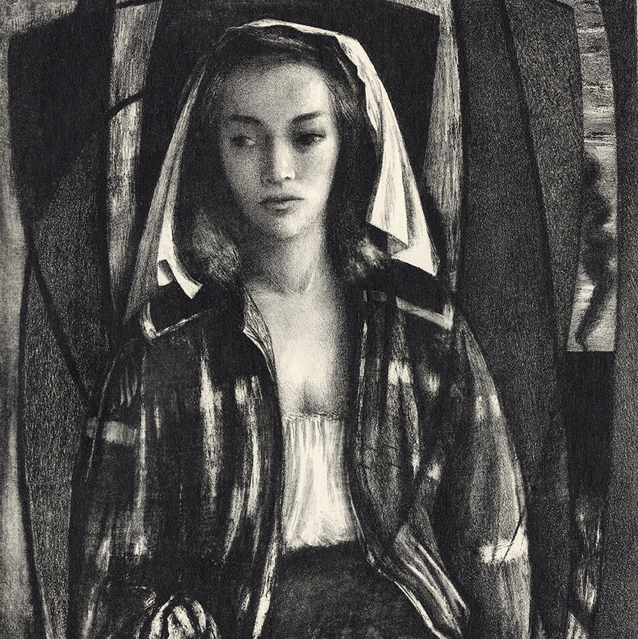 Benton Spruance - Ecclesiastes Essay I - lithograph - veiled woman holding a mirror - detail