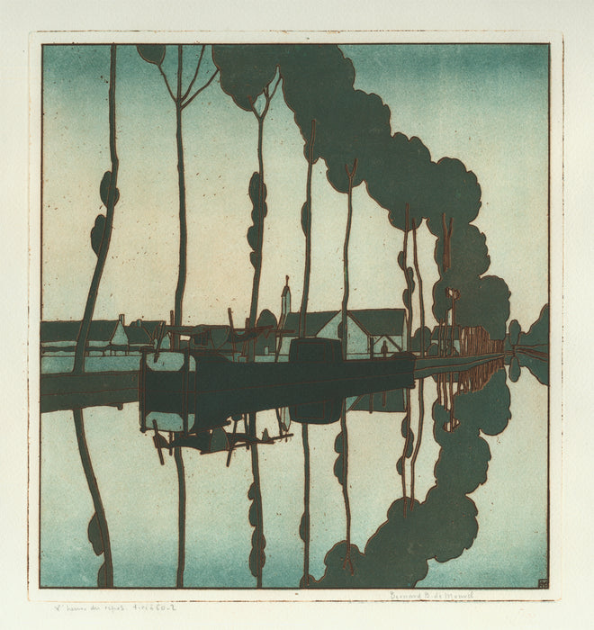 Bernard Boutet de Monvel - L'Heure du Repos - canal town - BN-IFF 5 - Color etching and aquatint