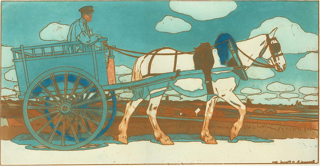Bernard Boutet de Monvel - La Charrette - horse drawn carriage - etching aquatint