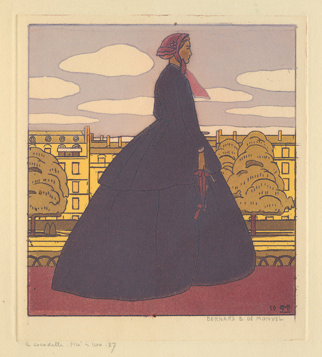 Bernard Boutet de Monvel - La Cocodette - modern fashion woman - color aquatint and soft-ground etching