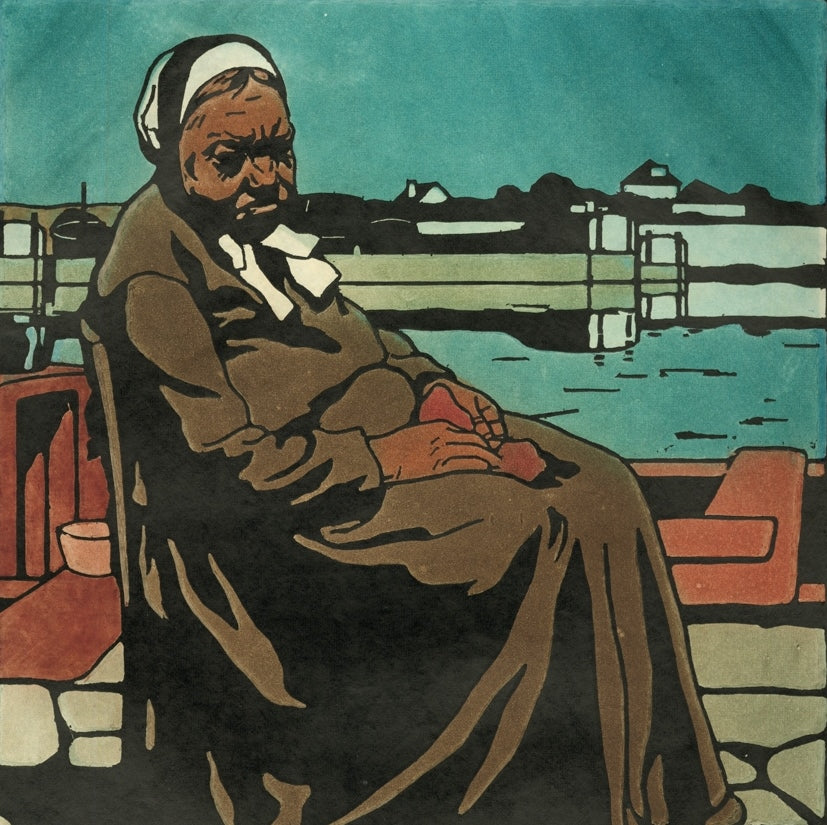 Bernard Boutet de Monvel - La Femme de L'Eclusier - seated older female portrait - wife of the lock keeper - Addade 53 - color woodcut and aquatint