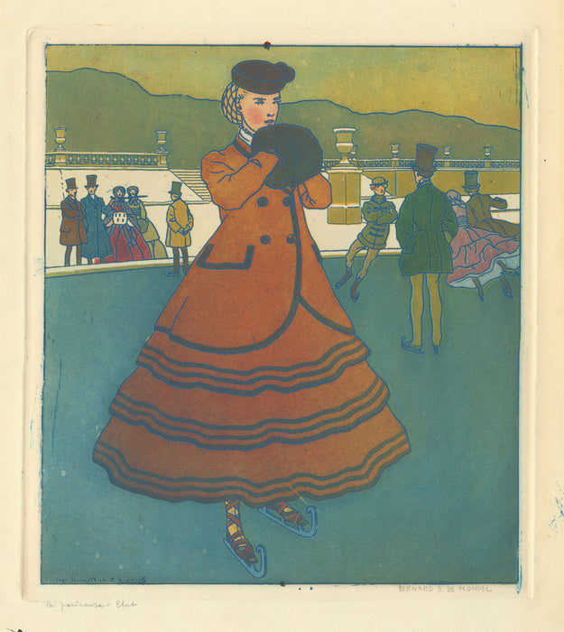 Bernard Boutet de Monvel - La Patineuse - female fashion ice skater - color aquatint and soft-ground etching