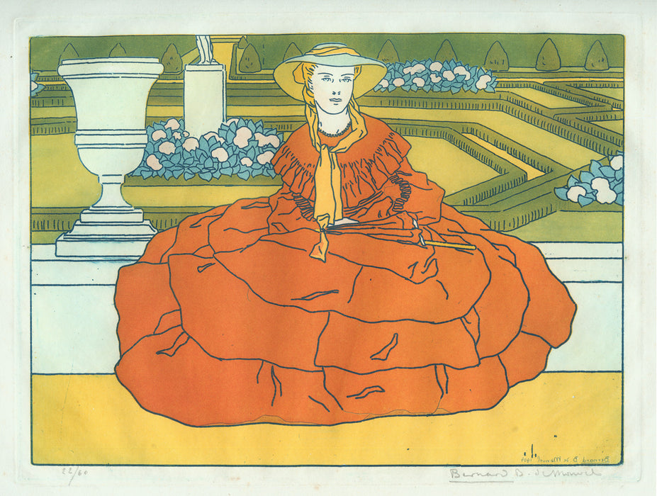 "Etching and aquatint - by BOUTET DE MONVEL, Bernard - titled: ""French Garden"" or ""Elegant Woman with Red Crinoline Dress"""