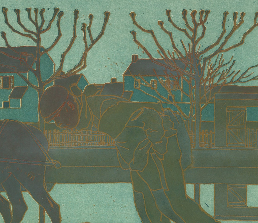 Bernard Boutet de Monvel - Les Anes - state proof - donkey canal town dusk - color aquatint and soft-ground etching