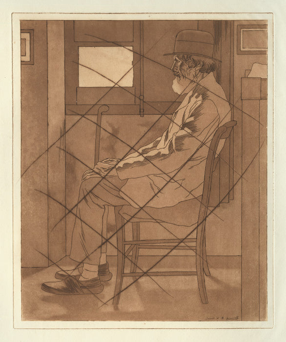 Bernard Boutet de Monvel - Pere Boyer or Vieillard Assis - cancelled plate - interior seated old man - color aquatint and soft-ground etching