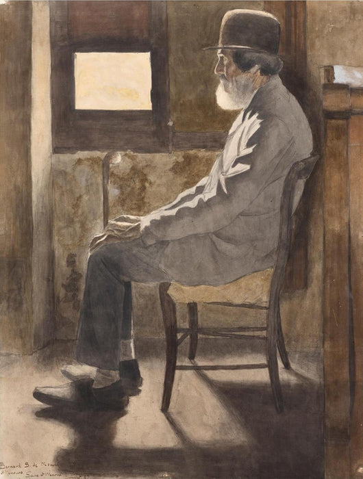 Bernard Boutet de Monvel - Pere Boyer or Vieillard Assis - drawing - interior seated old man - color aquatint and soft-ground etching