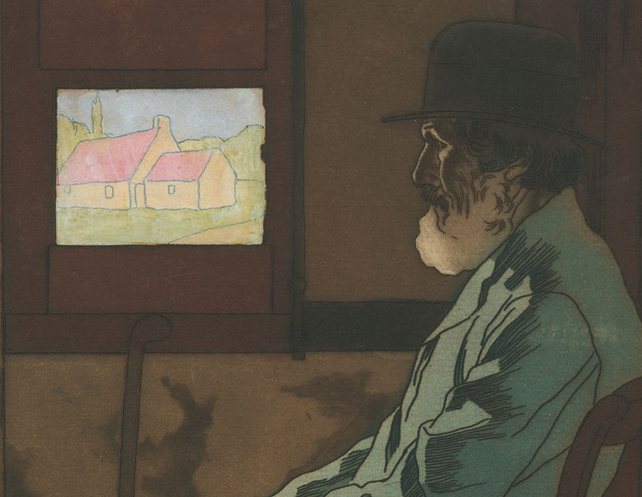 Color aquatint and etching - by BOUTET DE MONVEL, Bernard - titled: Old Man Seated by the Window