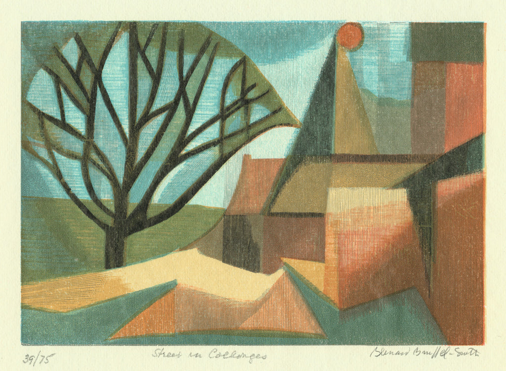 Bernard Brussel-Smith - Street in Collonges -color wood engraving