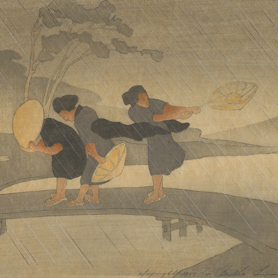 Bertha Lum - Wind and Rain - color woodcut 1913 - detail