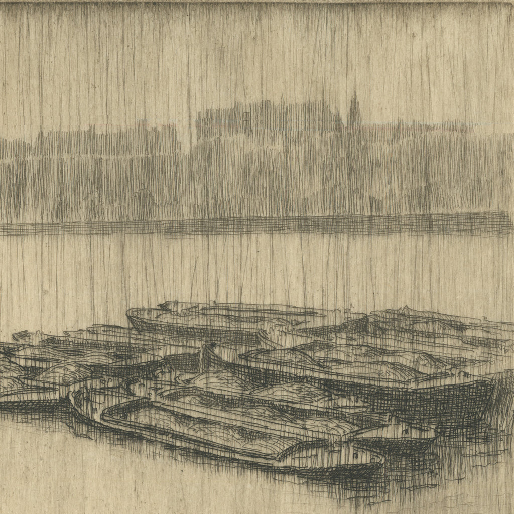 Bertha Jaques - Rain on the Thames- etching