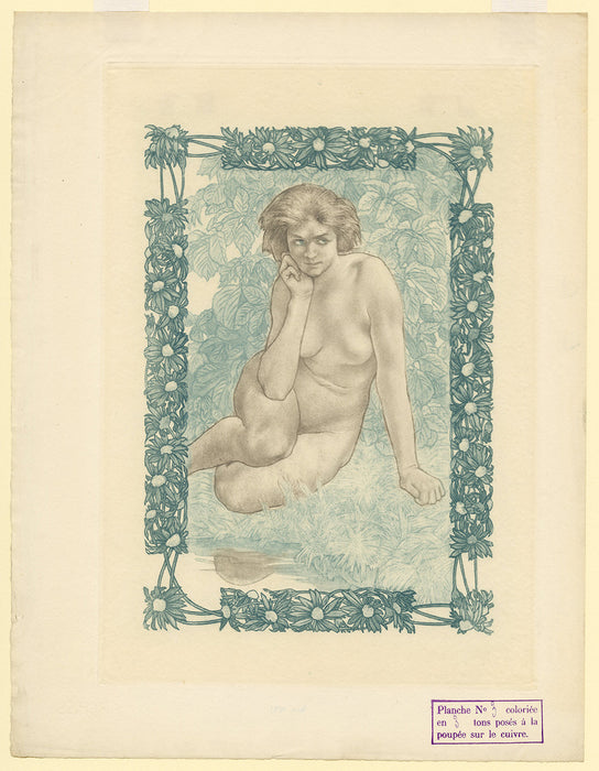 Charles Maurin - Femme Nue Assise - Eve - plate 3 - key plate - 3 colors - blue dominant - sheet