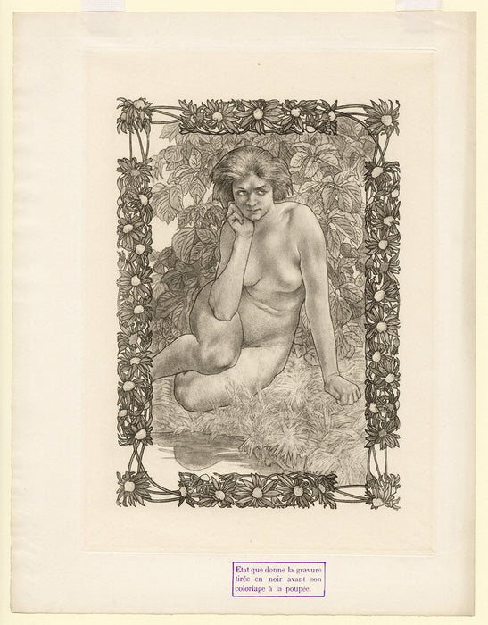 Charles Maurin - Femme Nue Assise - Eve - plate 3 - key plate - black only - sheet