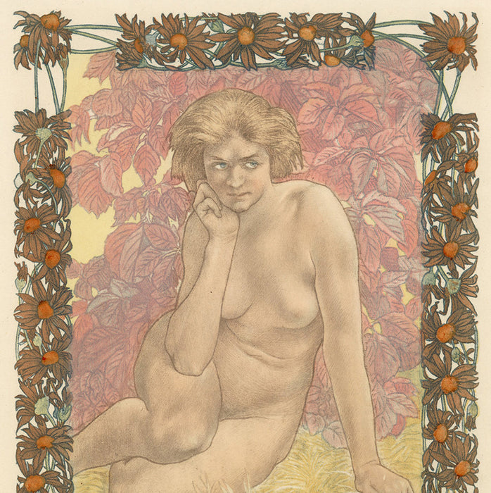 Charles Maurin - Femme Nue Assise - Eve - plates 1 2 3 4 - color - detail
