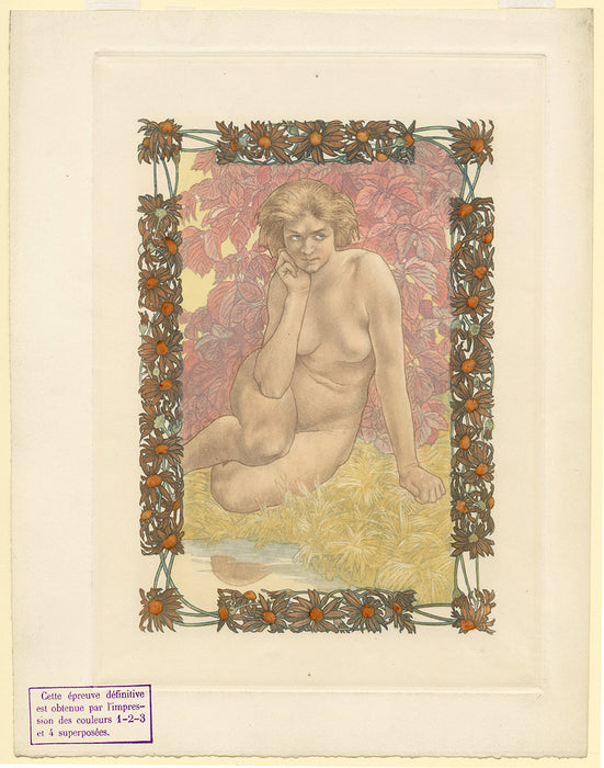 Charles Maurin - Femme Nue Assise - Eve - plates 1 2 3 4 - color - full sheet