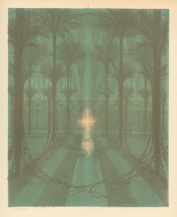 Color lithograph - by DULAC, Charles - titled: The Devine Palm Grove