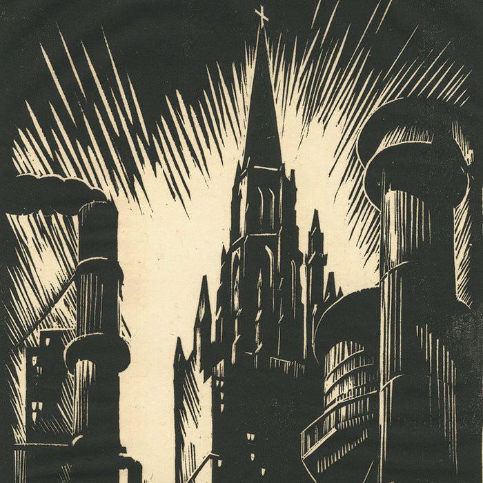 Charles Turzak - Methodist Temple Chicago - woodcut - industry religion clashing - detail