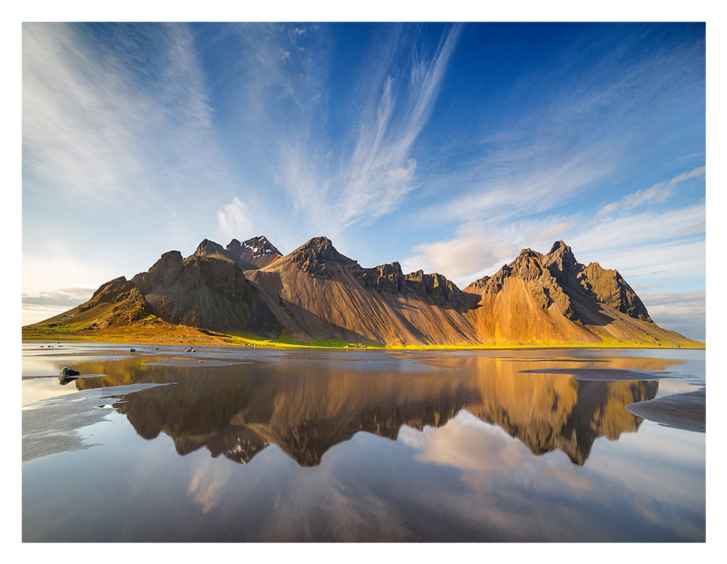 Daniel Anderson - Reflections Vesturhorn Evening - Southeast Iceland - color photograph